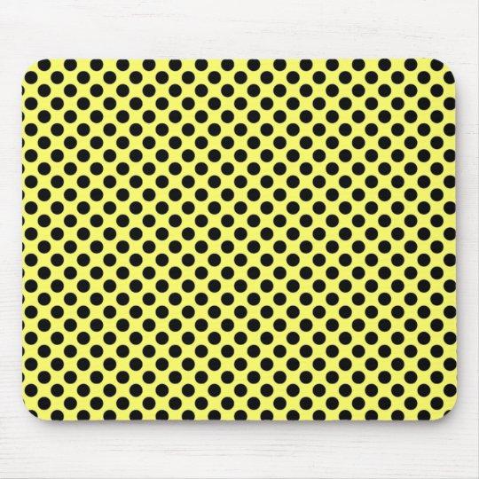 Yellow and Black Polka Dot Mousepad