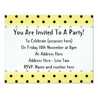 Yellow and Black Polka Dot Pattern. 11 Cm X 14 Cm Invitation Card