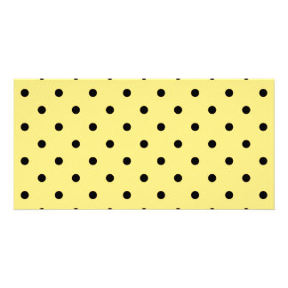 Yellow and Black Polka Dot Pattern Picture Card