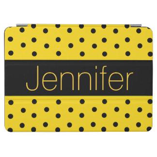Yellow and Black Polka Dots Custom iPad Air Cover