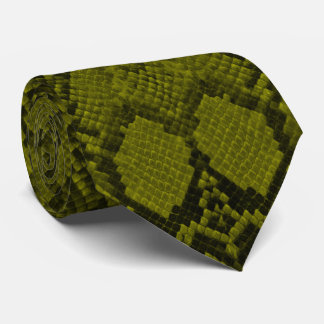 Yellow and Black Python Snake Skin Reptile Scales Tie