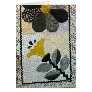 Yellow and Black Quilt Blank Card