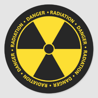 Yellow and Black Radiation Symbol Sticker