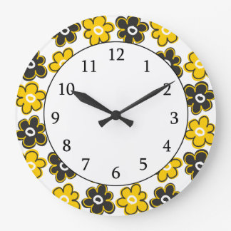 Yellow And Black Retro Flowers Pattern Large Clock