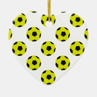 Yellow and Black Soccer Ball Pattern Christmas Ornament