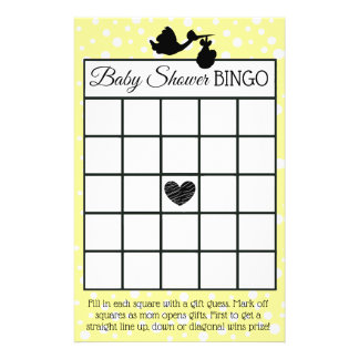 Yellow and Black Stork Polka Dot baby shower games Flyer