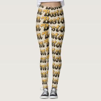 yellow and black striped Boston Leggings