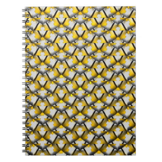 Yellow and Black Striped Diagonal Pattern Notebook