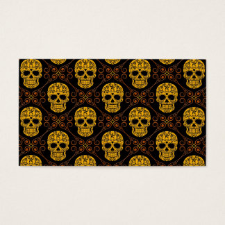 Yellow and Black Sugar Skull Pattern Business Card