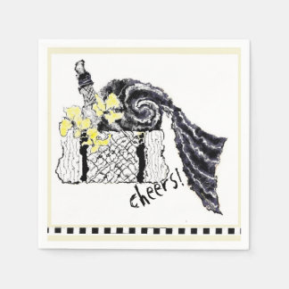 Yellow and Black Summer Picnic Basket Paper Serviettes