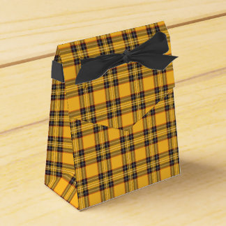 Yellow and Black Tartan Plaid Tent Favor Box Favour Box
