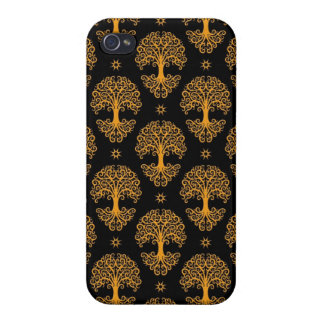 Yellow and Black Tree of Life Pattern Covers For iPhone 4