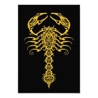 Yellow and Black Tribal Scorpion 9 Cm X 13 Cm Invitation Card
