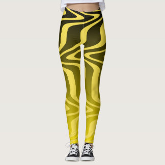 Yellow and Black Waves Leggings