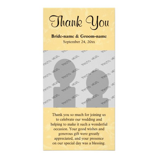 Yellow and Black Wedding with Subtle Pattern Personalized Photo Card