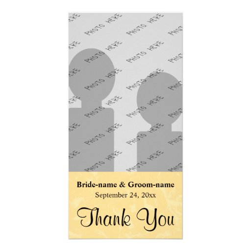 Yellow and Black Wedding with Subtle Pattern Custom Photo Card