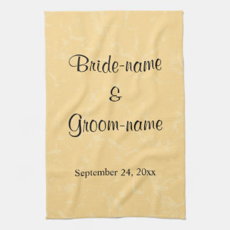 Yellow and Black Wedding with Subtle Pattern Tea Towel
