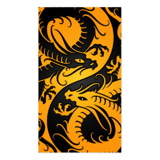 Yellow and Black Yin Yang Chinese Dragons Business Card