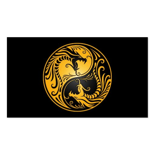 Yellow and Black Yin Yang Dragons Business Card Template