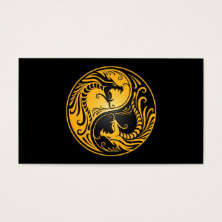 Yellow and Black Yin Yang Dragons Business Card