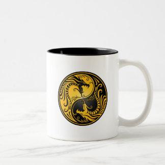 Yellow and Black Yin Yang Dragons Mugs