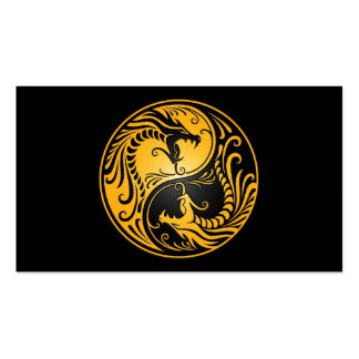 Yellow and Black Yin Yang Dragons Pack Of Standard Business Cards