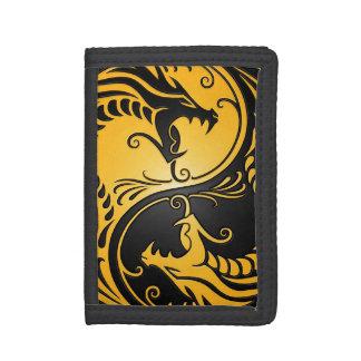 Yellow and Black Yin Yang Dragons Tri-fold Wallet