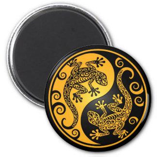 Yellow and Black Yin Yang Geckos Magnet
