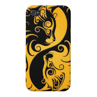 Yellow and Black Yin Yang Kittens iPhone 4 Case