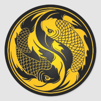 Yellow and Black Yin Yang Koi Fish Classic Round Sticker