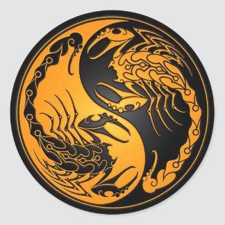 Yellow and Black Yin Yang Scorpions Classic Round Sticker