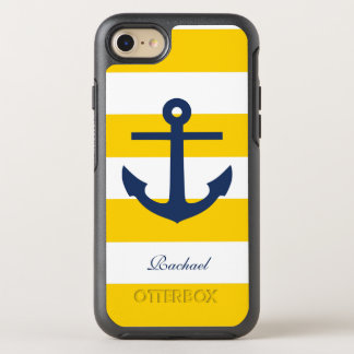 Yellow and Blue Anchor and Stripes Pattern OtterBox Symmetry iPhone 8/7 Case