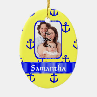 Yellow and blue anchor pattern christmas ornament