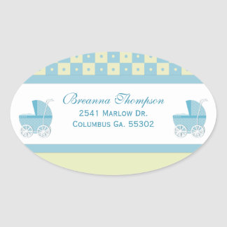 Yellow and Blue Baby Carriage Address Stickers