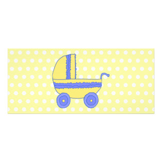 Yellow and Blue Baby Stroller. Rack Card