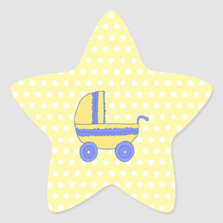 Yellow and Blue Baby Stroller. Star Sticker