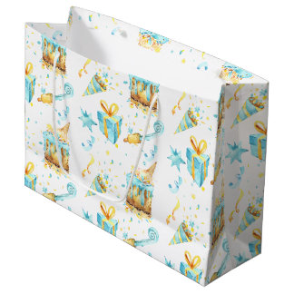 Yellow and Blue Birthday Gift Bag