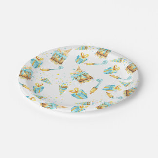 Yellow and Blue Birthday Paper Plate