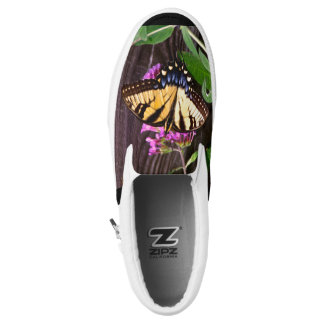 Yellow and Blue Butterfly Slip On Shoes Printed Shoes