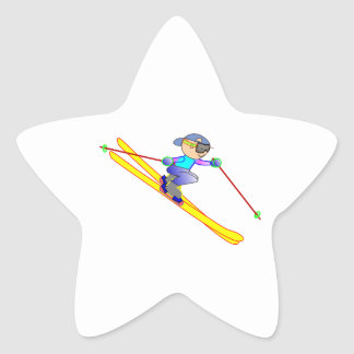 Yellow and Blue Cartoon Skier Going Downhill Star Sticker