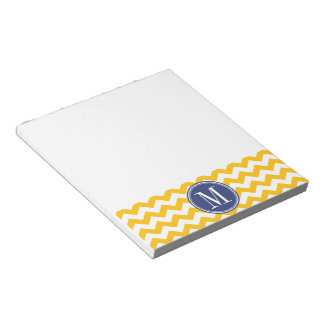 Yellow and Blue Chevron Pattern with Monogram Notepad
