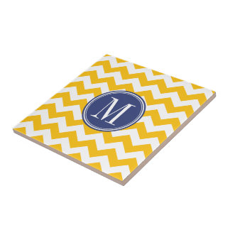 Yellow and Blue Chevron Pattern with Monogram Small Square Tile