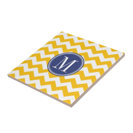 Yellow and Blue Chevron Pattern with Monogram Tiles