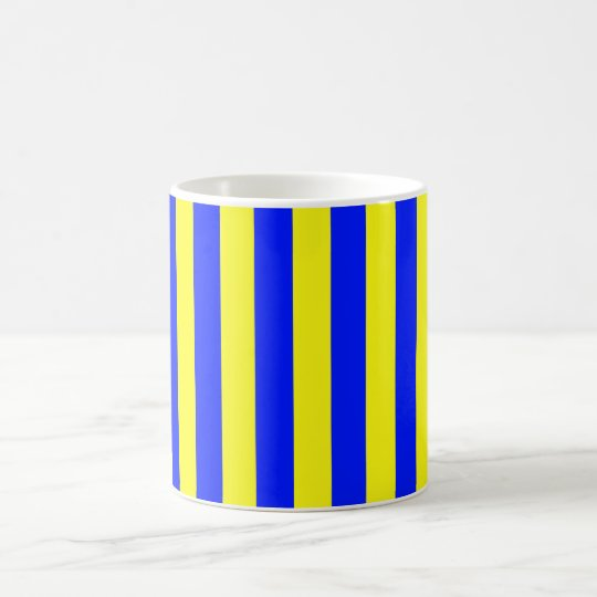 Yellow and Blue Coloured striped pattern Coffee Mug