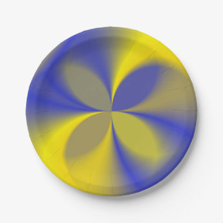 Yellow and Blue Four Leaves 7 Inch Paper Plate