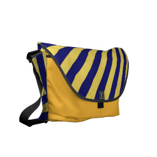 Yellow and Blue Funky Striped Abstract Art Commuter Bags