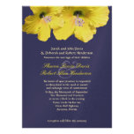 Yellow And Blue Hibiscus Wedding Invitation