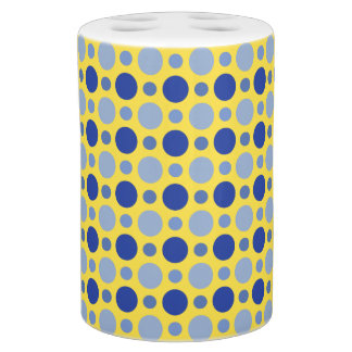 Yellow and Blue Orb Soap Dispenser And Toothbrush Holder