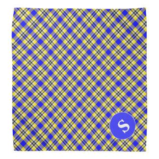 Yellow and Blue Plaid with Monogram Dog Bandana