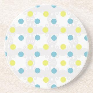 Yellow and Blue Polka Dot Coaster
